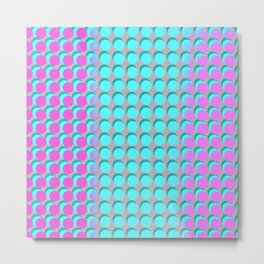 Pink & Aqua Spots on Taupe Metal Print