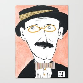 James Joyce with a Hat and Glasses Canvas Print