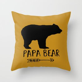 Papa Bear Brown Throw Pillow