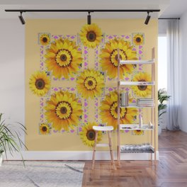 CREAM COLOR WESTERN STYLE YELLOW SUNFLOWERS Wall Mural