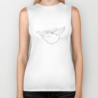 quibe Biker Tanks featuring One Line Yoda by quibe