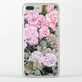 A LIFE TIME COMMITMENT - Pink Rose And Anthurium - Original Fine Art Floral painting by HSIN LIN Clear iPhone Case