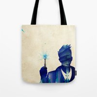 david tennant Tote Bags featuring Doctor Who 10th Doctor David Tennant by Art by Colin
