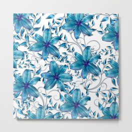 LILY AND VINES BLUE AND WHITE PATTERN Metal Print