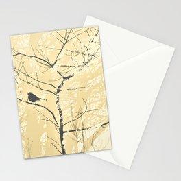 Mockingbird in Tree Soft Yellow Grey Silhouette Stationery Cards