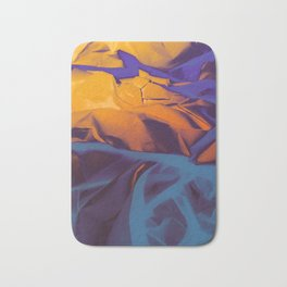 Orange, Purple and Blue Abstract. Mixed Media. Bath Mat