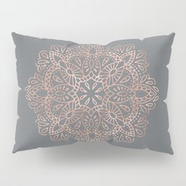 Mandala Rose Gold Pink Shimmer on Soft Gray by Nature Magick Pillow Sham