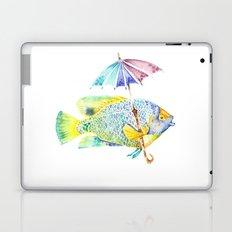 Fishy Fish - Original Watercolor of Yellow Mask Angel Fish with Umbrella Laptop & iPad Skin