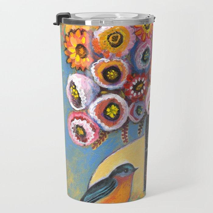 Bluebird with Bouquet by Robynne Travel Mug
