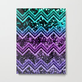 Unicorn Glitter Chevron #4 #shiny #decor #art #society6 Metal Print