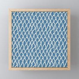 Fishing Net Blue Framed Mini Art Print