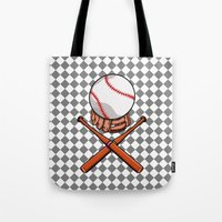 baseball Tote Bags featuring Baseball by mailboxdisco