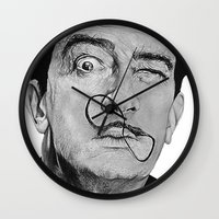 salvador dali Wall Clocks featuring Salvador Dali by Breanna Speed