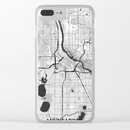 Minneapolis Map Gray Clear iPhone Case