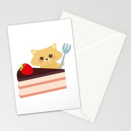 cute kawaii hamster with fork, Sweet cake decorated with fresh Strawberry, pink cream and chocolate Stationery Cards
