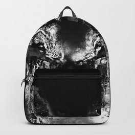 wolves hate monday splatter watercolor black white Backpack