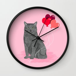 Cat breed grey cats valentines day heart balloons kitty cat gifts Wall Clock