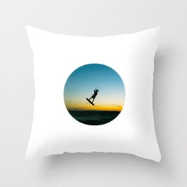 """LAUNCH""  kitesurf . kite . surf Throw Pillow"
