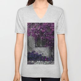 Bright Purple Vines, Window and Gray Stone Unisex V-Neck
