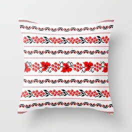 Ethno Ukrainian Pattern - Grape Guelder rose Oak - Symbol Throw Pillow