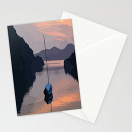 Boat At Bozburun At Sunset Vector Image Stationery Cards
