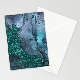 Malachite Glitter Stone and Ink Abstract Gem Glamour Marble Stationery Cards