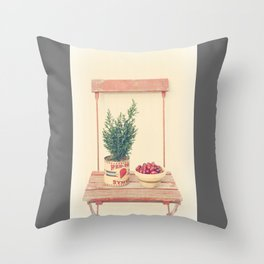 Cranberries and pine tree Throw Pillow