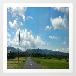 Blue sky and the rice field in the countryside Art Print