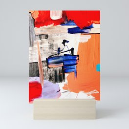 Abstract Artwork The Captain in red, orange, blue and black and white, red Mini Art Print