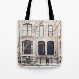 Chicago Snow Day in Neutrals Tote Bag
