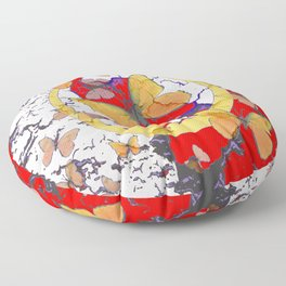 YELLOW  BUTTERFLIES IN WHITE & RED ABSTRACT Floor Pillow