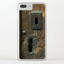 Old Wooden Door with Keyholes Clear iPhone Case