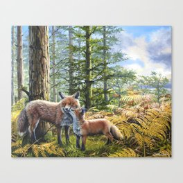Foxes in the Forest - Oil Painting - Scottish Art Canvas Print