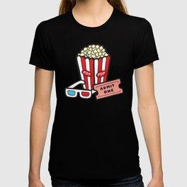 Movie Pattern in Dark Blue T-shirt