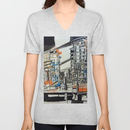London From A Train Unisex V-Neck