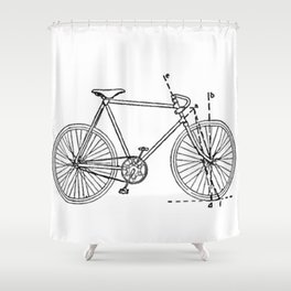 Bicycle Blueprint Shower Curtain