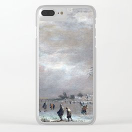 Aert van der Neer Winter Landscape with Skaters on a Frozen River Clear iPhone Case