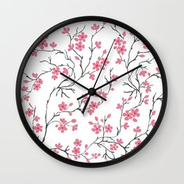 Pink Cherry Blossom Painting Wall Clock