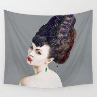 black widow Wall Tapestries featuring Black Widow by Daniac Design
