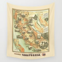 The Unique Map of California Vintage Illustration by Johnstone E. McD. 1888 with Modern Artsy Design Wall Tapestry