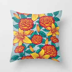 Flowers - Red Throw Pillow