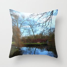 Deserted Old River Boathouse Throw Pillow