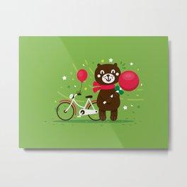 Sweet Bear with Giant Lollipop Metal Print