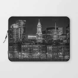 BOSTON Evening Skyline of North End & Financial District | Monochrome Laptop Sleeve