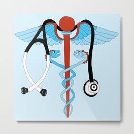 medical caduceus and stethoscope Metal Print