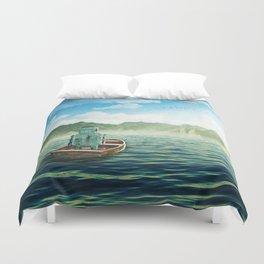 Swim back to shore Duvet Cover