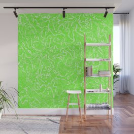 Chaotic white tangled ropes and green pastel lines. Wall Mural