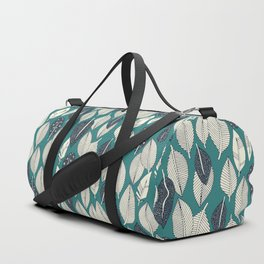 leaves and feathers teal Duffle Bag