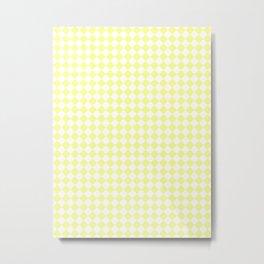 Small Diamonds - White and Pastel Yellow Metal Print