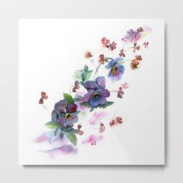 Watercolor hand painted pansies in gentle tone. Metal Print